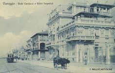"""""""Hotel Imperiale"""", opera dell'arch. Gaetano Orzali, Viale Giosuè Carducci, Viareggio. foto d'epoca; anni '20 c. Sulla sx è visibile il villino """"Amor omnia vincit"""", sulla dx, il """"Villino Ghizzolini""""."""