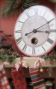 Christmas Clock.....and mantel with stockings.
