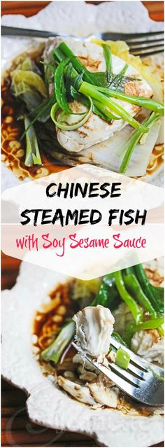 Chinese Steamed Fish with Soy Sesame Sauce #Asian #dinner #recipe #fcpinpartners