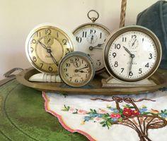 Vintage clocks-set to the dates of my grandkids births❤️