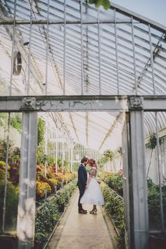 Gorgeous greenhouse wedding portrait | Image by Ten21 Photography