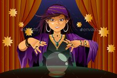 A vector illustration of fortune teller woman reading future on magical crystal ball. Vector illustration, zip archive contain eps