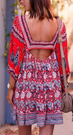 #summer #fashion / boho red