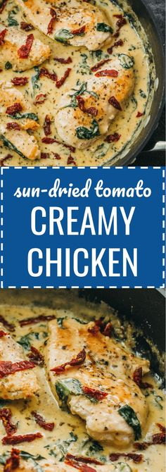 Creamy sun-dried tomato chicken with spinach and garlic: This chicken skillet dinner has garlic, sun-dried tomatoes, and spinach in a creamy buttery sauce. comfort foods / meals / gluten free / keto / low carb / diet / atkins / induction / meals / recipes / easy / dinner / lunch / foods / healthy / gluten free / paleo / tuscan / one pan / one pot / fried / simple / ideas / families / simple / dishes / cheesy / quick / parmesan / italian / whole / garlic #keto #lowcarb #chicken #dinner