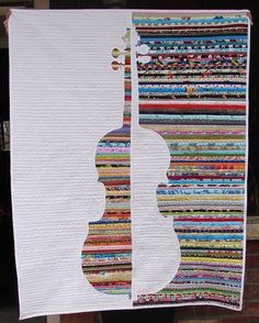 "Color & Music: Violin Study - A Four-in-Art Quilt - by Rachel Rozendaal Riley: ""It's Reveal Day for Four-in-Art. May I present: Violin Study"" Scrap Quilt, Patchwork Quilt, Jellyroll Quilts, Mini Quilts, Quilt Blocks, Baby Quilts, Quilting Projects, Quilting Designs, Art Quilting"