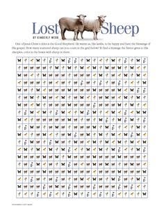 By Kimberly Webb One of Jesus Christ's titles is the Good Shepherd. He wants us, His lambs, to be happy and have the blessings of His gospel. How many scattered sheep can you count in the grid belo… Sunday School Kids, Sunday School Crafts, Bible Lessons For Kids, Bible For Kids, The Lost Sheep Activity, Parables Of Jesus, Religion, The Good Shepherd, Bible Crafts