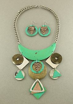 Triangle Circles Necklace & Earrings Set Patina Oxidized Chain Antique Silver Gold Brass Statement