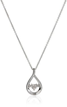 Sterling Silver Diamond Dancing Teardrop Pendant Necklace (0.01cttw), 18' * Want to know more, click on the image. (This is an Amazon Affiliate link)