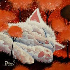 Sleeping cloud Artwork by Raphaël Vavasseur Image Chat, Illustration Art, Illustrations, Cat Drawing, Crazy Cats, Cat Art, Artwork, Original Paintings, Fine Art Prints