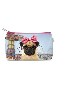 "Madonna had it right. Holidays call for celebration. Treat your cosmetics to the Carnival Pug Wash Bag and bring the party wherever you go. Like our pup this bag is cute loves water and is doggone sturdy in scrumptiously soft and flexible plastic. Just the thing for pug-obsessed pals or anyone with itchy paws. Tested against and passed ASTM requirements. Made from 100% PVC. Wipe clean only.  Dimensions: 12""W x 7""L  Carnival Wash Bag by Catseye London. Bags - Cosmetic Pouches New York"