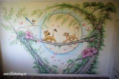 Bambi Nursery, Lion King Nursery, Winnie The Pooh Nursery, Baby Room Themes, Baby Room Decor, Disney Artwork, Disney Drawings, Disney Kids Rooms, Fairy Bedroom