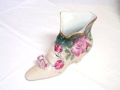 Vintage Victorian Boot Shoe Pink Roses Ceramic