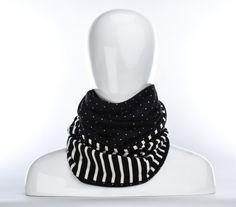 Foulard infini ligné noir et blanc et à petits pois par Annie 50