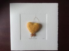 MISU card design | heart of gold Japanese Paper, Silk Screen Printing, Wool Felt, Handmade Cards, Watercolor Art, Crochet Earrings, Greeting Cards, Valentines, Pure Products
