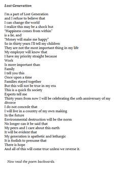 Lost Generation Poem (read forwards and backwards)