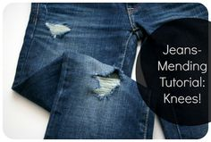 Adventures in Dressmaking: Tutorial update: How to mend jeans when the holes are in the knees