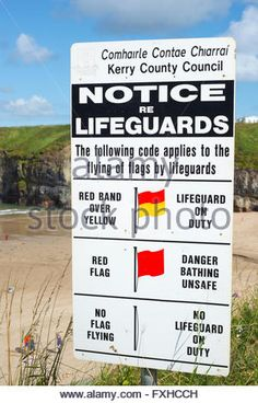 lifeguards notice at ballybunion beach in county kerry ireland on the wild atlantic way - Stock Photo