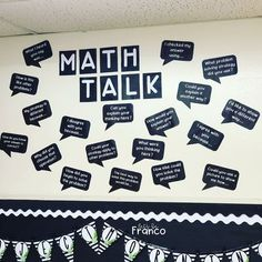 Are you looking for a better way to incorporate math talk into your math class? Look no further! This bulletin board set is easy to cut and gives the students great ideas for math conversations. You can use these in your math workshop to teach deeper thinking and conversational math.    #5thgrademath #mathtalk #bulletinboards