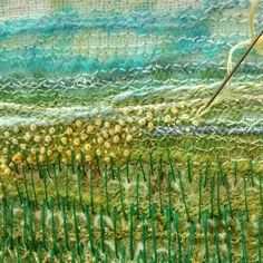 Work in progress ... Embroidering French knots to give the effect of flowers disappearing into the distance.