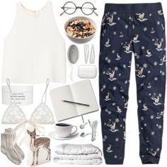 Designer Clothes, Shoes & Bags for Women Cute Lazy Outfits, Chill Outfits, Mode Outfits, Casual Outfits, Fashion Outfits, Pyjamas, Pijamas Women, Pajama Day, Cute Pjs