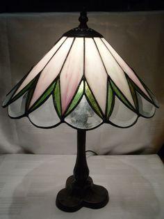 Tiffanylampe Tiffany Lampe Tischlampe rose weiß grün 39 cm hoch neu T36M