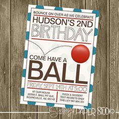Ball Birthday Party Invitation by shelleyspaperstudio on Etsy, $15.00