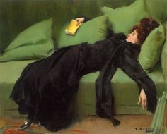 I love this Ramon Casas painting.  Book Hangover.