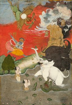 Vishnu Saving the Elephant (Gajendra Moksha). India, mid-18th century. Opaque watercolor and gold on paper, 8 1/16 x 5 9/16 in. (20.5 x 14.1 cm). Collection of Kenneth and Joyce Robbins at The Brooklyn Museum