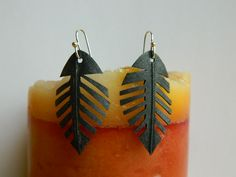 Recycled Bike Tire Tube Feather Earrings  Cut 'em up into these beauties. Hand cut feather shaped earrings.