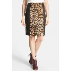 Halogen(R) Leopard Print Genuine Calf Hair & Leather Pencil Skirt (Petite) ($67) found on Polyvore featuring skirts, petite, knee length pencil skirt, knee length leather skirt, leopard print pencil skirt, halogen skirt and pencil skirt