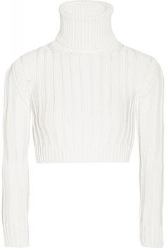 Designed in a versatile ivory hue, Calvin Klein Collection's ribbed-knit sweater has a cropped hem and close yet comfortable fit. Team yours with a high-waisted skirt or pants. Shop it now at NET-A-PORTER Larsson And Jennings Watch, The Blonde Salad, Calvin Klein Collection, Kate Moss, Sweater Weather, Knitwear, Style Me, High Waisted Skirt, Winter Fashion