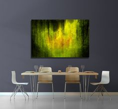 Oversized CANVAS - Loft Art Abstract - Oversized Wall Print - Minimalist Photography - Green Abstract - Forest, Trees  READY to HANG