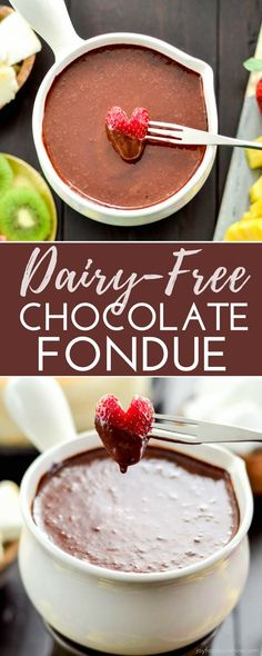 5 minutes and 6 ingredients is all it takes to make this insanely delicious Vegan Chocolate Fondue recipe! #vegan #fondue #chocolate #dairyfree #dessert #vitamix #paleo #refinedsugarfree