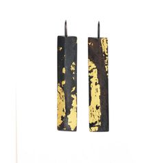 GOLDEN COLUMN Earrings Sterling Silver and 24K Gold by SenayAkin