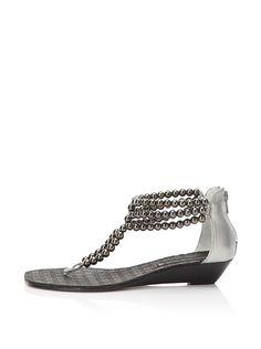 9900f7bfc39e7 Steven by Steve Madden Women s Clam Beaded Flat Sandal (PEWTER) Cute Sandals