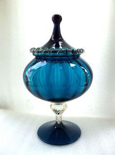 blue empoli glass decanter