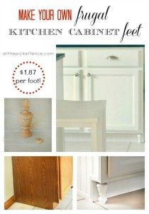 """Make Your Own """"Frugal"""" Kitchen Cabinet Feet - At The Picket Fence look at the beadboard wallpaper used for the kickboard too"""