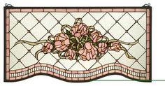 Meyda Tiffany Pink Cabbage Rose Stained Glass Tiffany Window X-49523 contemporary-windows