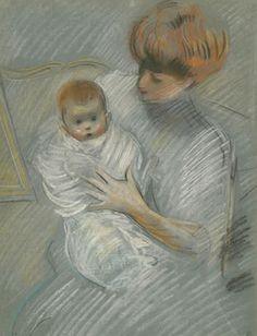 Paul-César Helleu, « Paulette dans les bras de sa mère » Vers 1904, Pastel sur toile / Les Amis de Paul-César Helleu