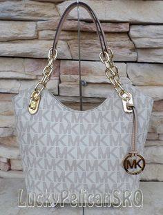 Michael Kors Signature Monogram PVC Medium Vanilla Lilly Tote Handbag 35T1GLLT2B #MichaelKors #TotesShoppers