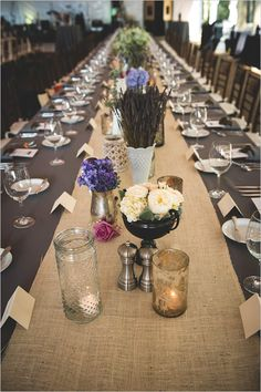 burlap table runners. Wedding design by Charlotte wedding planner @WEDDING INSPIRATIONS bridal boutique & event planning