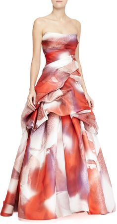Monique Lhuillier Strapless Silk Tufted Ball Gown, Multicolor on shopstyle.com