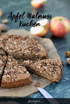 Apple and walnut cake - quick, juicy batter with a crunchy topping made from apples, nuts and oatmeal - on holiday . the good life - Apple and walnut cake – healthy baking, recipe for a quick and delicious batter with apples and w - Donut Recipes, Cupcake Recipes, Snack Recipes, Healthy Cake, Healthy Baking, Walnut Cake, Pumpkin Spice Cupcakes, Food And Drink, Eat