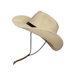 7e7064cdc3c Adults Kids Cowboy Straw Hat Wide Brim Hat Summer Beach Sun Cap Foldable -  Khaki - C4184YRTGE2