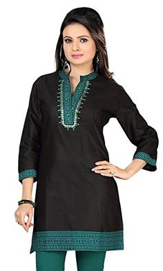 cf07ba910d35 Indian Long Kurti Top Tunic Cotton Embroidered Womens India Clothes (Black,  L) Maple