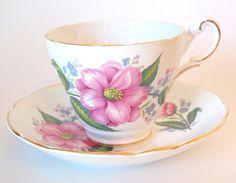 Regency Bone China Pink Roses Teacup and Saucer - England.