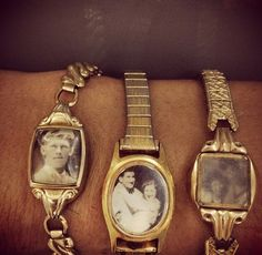 old watches turned into charm bracelets. I don't wear watches but I'd totally wear this! Bric À Brac, Watch Photo, Picture Watch, Old Jewelry Crafts, Recycled Jewelry, Diy Jewelry Vintage, Vintage Crafts, Recycled Crafts, Upcycled Vintage