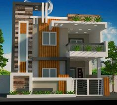 KM house plan House Front Wall Design, Two Story House Design, Exterior Wall Design, House Outside Design, Duplex House Design, Small House Design, Modern House Design, 2 Storey House Design, House Elevation
