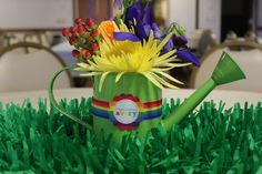 Rainbow Flower Watering Can Centerpieces