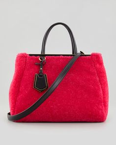 2Jours Medium Shearling Fur Tote Bag, Pink/Black by Fendi at Neiman Marcus.